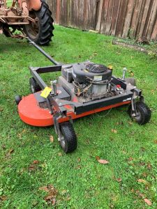 "DR 14.5hp electric start gas engine pull behind field and finish mower 60""W,  extra long tongue with offset"