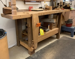84-in woodworking bench with handmade wood clamp vise and dogs for the bench  **No contents**