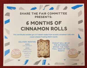 Share The Fair Cinnamon Rolls for 6 Months - Share the Fair Committee