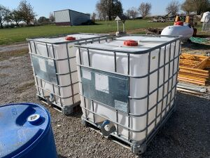 One 250 gallon plastic pallet tank with cage.