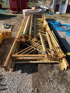 "Pallet racking includes (5) 4' x 12' tall uprights includes (8) 9' cross beams and (4) 4' cross beams along with the 2"" boards for decking"
