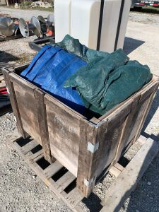 Miscellaneous used poly tarps, cleaning and drop clothes