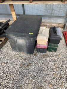 Large plastic storage box and four small tool boxes