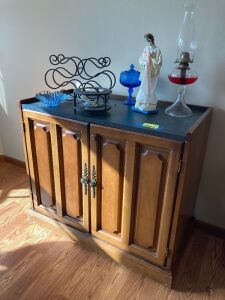 "Buffet measures 36""Lx18""Wx32""H (knob is loose on door) includes contents on top"