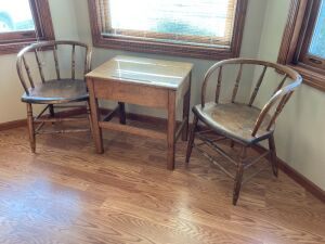 School desk with two spindle back captains chairs Desk measures 24 x 16 x 24