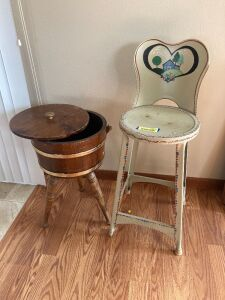 Vintage stool, tripod cheese box with lid and wood handle (top has been repaired)
