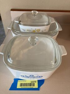 Three pieces of CorningWare-all have lids
