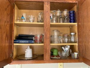 Drinking glasses, serving glassware, kitchen utensils, waffle maker, coffee grinder, pots & pans, Rival crockpot and more
