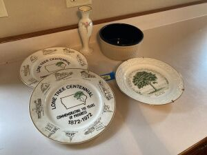 Three Lone Tree collector plates, Lenox vase and Western Stoneware bowl