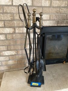 4pc fireplace set and an extra ash scoop