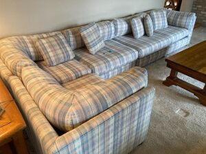 Five piece sectional with ottoman Measures 170 x 34 x 24