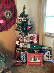Christmas ready-4' tree already decorated, snowmen figurines, stand, porcelain train set, Holly Jolly and Jingle Bell rocking santas and more