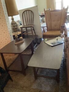 Matching coffee table/end table/step end table, childs chair and rocker (possibly Tell City)