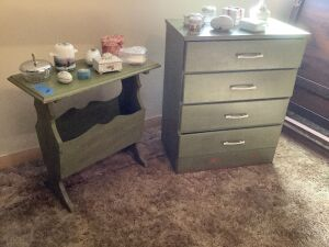 Four drawer nightstand measures 24 x 14 x 29, magazine rack measures 24 x 11 x 24 and trinket boxes