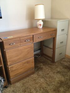 Five drawer student desk measures 40 x 18 x 30, three drawer file cabinet w key measures 15 x 18 x 35 and a table lamp
