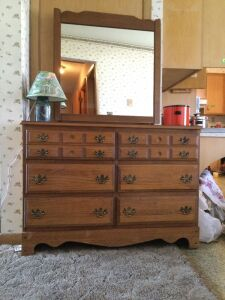 Six drawer dresser with removable mirror and table lamp Dresser measures 44 x 17 x 64