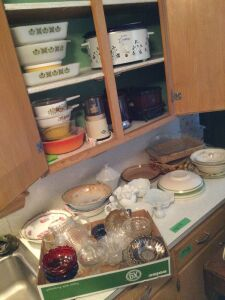 Corning Ware, West Bend bean pot, West Bend crock pot, Fire King, West Bend griddle/slow cooker, milk glass, Haeger dish, china bowls, candy dishes and more