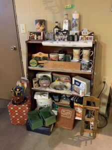 Four tier shelf and all contents (mostly Watkins related)-cookbooks, tins, diecast, mugs, fireman figure