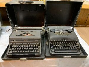 One Remington Rand and one Quiet DeLuxe Royal manual typewriters with cases