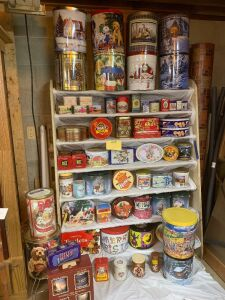 Large variety of old and new tins