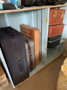 Two vintage suitcases, four other suitcases and soft side and hard side bags