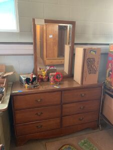 "Hard rock maple 6 drawer dresser with mirror 18""W x deep 50""L x 64""H  **No other items included**"