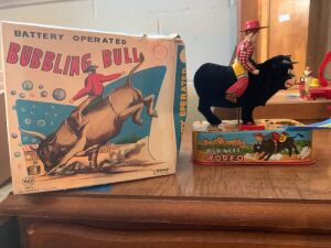 Battery operated bubbling bull tin toy with original box