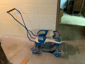 Vintage 1950s child's convertible stroller walker cart with teardrop fenders removable footrest and handle