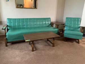 "Retro turquoise 80"" folding pleather sofa with matching rocker by Economy Furniture, 40 x 20 coffee table and 16 x 28 end table"