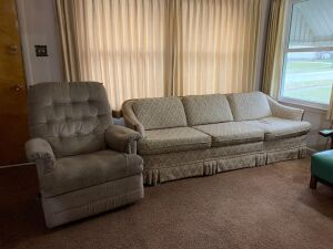 "La-Z-Boy rocker recliner and three cushion 87"" sofa"