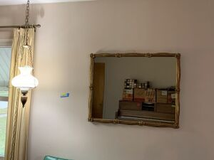 Wall mirror measures 36 x 28 and hanging lamp