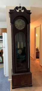 Grandfather clock measures 24 x 15.5 x 91  Seller says clock is from 1911-no visible markings on clock