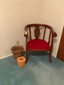 Very sturdy captains chair, Longaberger tissue holder and a wicker waste basket