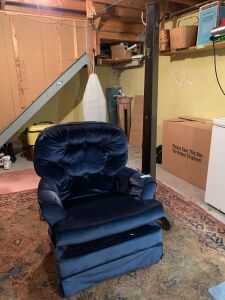 Navy blue rocking arm chair and a coat tree