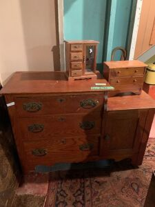 Dresser FULL of craft supplies and two jewelry boxes Dresser measures 41 x 17 x 30
