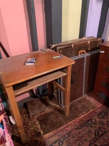Student desk with inkwell, three vintage card tables (great for yard sales!) and a folding camping table