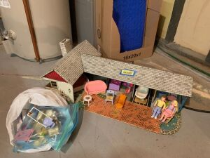 Vintage tin doll house and accessories