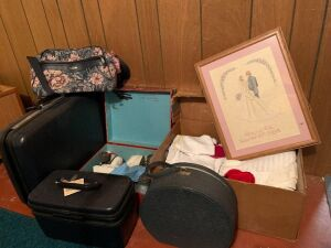 Hard sided suitcase, hat box, ladies vintage carry on, women's roller derby skates with case size 8, baby items, etc