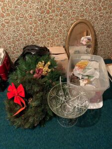 Vintage oval mirror, tote w Christmas decorations, wreathes and an Anchor Hocking punch set  (cups in box)