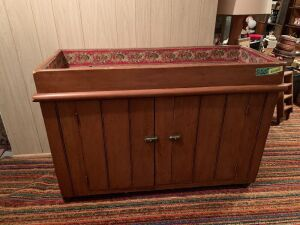 Double door pine dry sink measures 48 x 19 x 32  (and the flowers inside)