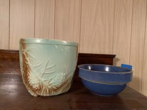 "McCoy 6 1/2"" tall pine cone planter and 7"" round stoneware bowl"