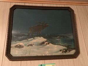 "Two prints-one called ""Call of the Night"" with an elk overlooking a cabin,  the second is ""Lone Wolf"""