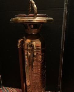 Highly polished brass fire extinguisher made into an ashtray