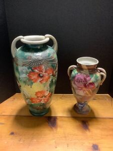 Two pottery vases No makers mark See photos for damage