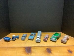 Vintage automobiles and an Ertl Ford tractor Cars are Tootsie Toys, Hubley and Metal Masters that we can tell