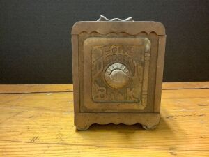 Cast iron Coin Deposit Bank. see photos for damage