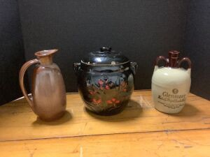 Frankoma pitcher 835, cookie jar (chipped lid) and Glenmore Kentucky Straight Bourbon Whiskey double handled jug