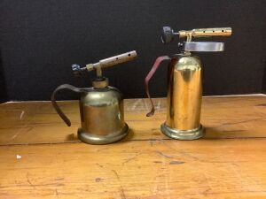 Two small brass antique blow torches