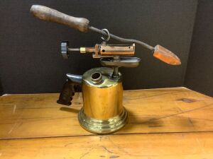 Brass blow torch with soldering iron