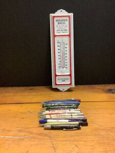 Houser Brothers Newhall IA advertising thermometer, 1 calligraphy pen, 5 unmarked pens/pencils, 10 advertising pens/pencils